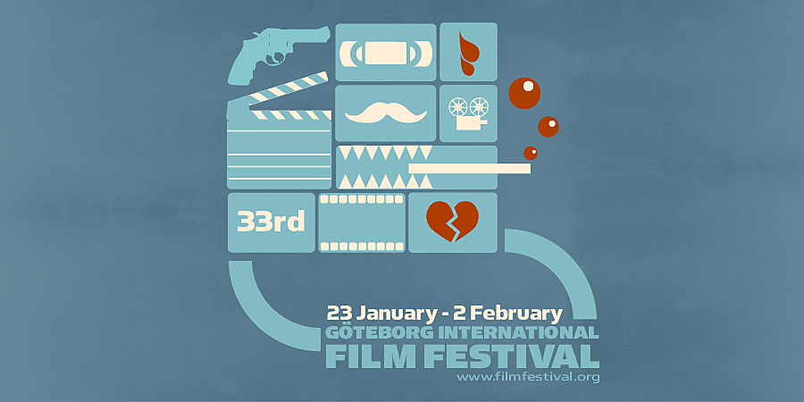 Cyan illustration with film related pictograms. Göteborg international film festival.